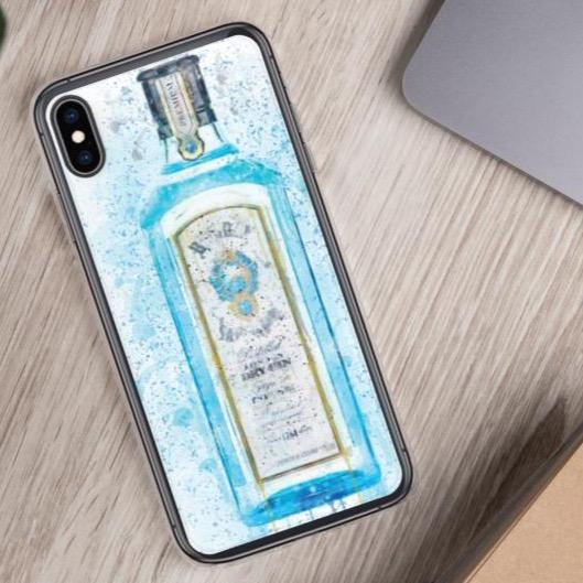 Woolly Mammoth Media iPhone XS Max Blue Gin Bottle Splatter Art iPhone Stylish Case Cover