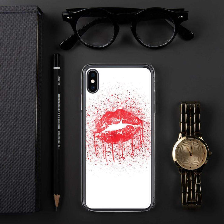 Woolly Mammoth Media iPhone XS Max Red Lips Splatter Lipstick iPhone Case Cover