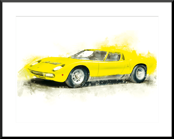 Woolly Mammoth Media Lamborghini Miura classic supercar wall art print