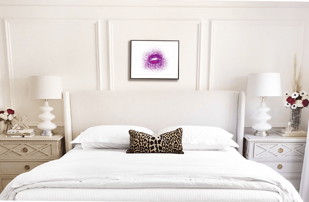 Woolly Mammoth Media Purple KISS Lips Sexy lipstick Splatter Beauty interior wall art