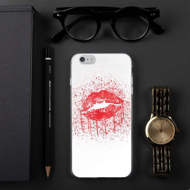 Woolly Mammoth Media Red Lips Splatter Lipstick iPhone Case Cover