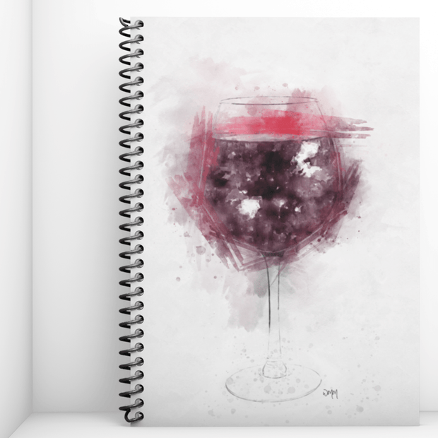 Woolly Mammoth Media Red Wine Glass Art Notebook
