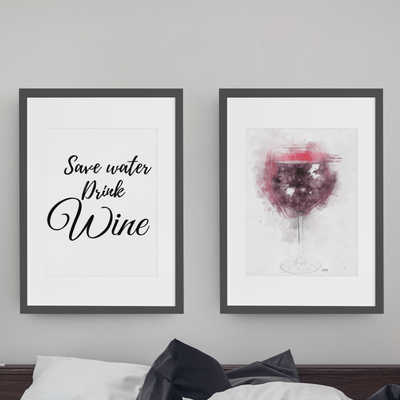 Woolly Mammoth Media Save Water Drink Wine wall art set of 2