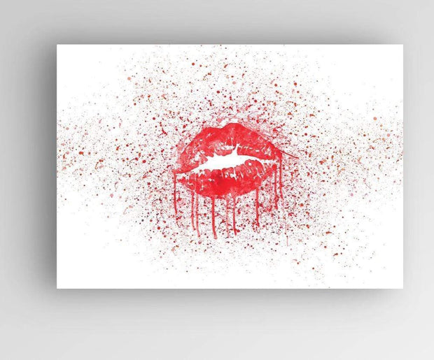 Woolly Mammoth Media Sexy Red Lips KISS Stylish Splatter Wall Art Lipstick Beauty