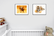 Woolly Mammoth Media Sunset the Tiger Cub Framed Wall Art Print. Cute Wildlife Animal Artwork