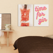 Woolly Mammoth Media Time for Gin set of 2 Wall Art Prints