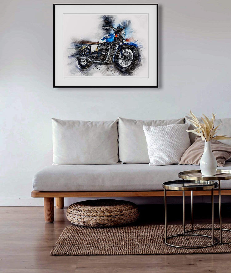 Woolly Mammoth Media Triumph Motorcycle Classic Wall Art Print