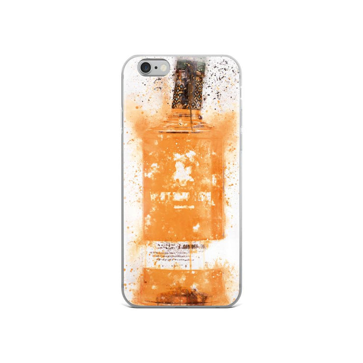 Woolly Mammoth Media Zesty Orange Gin Bottle Splatter Art iPhone Case