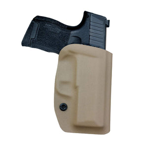 Kydex OWB Holster Fit: Sig Sauer P365 Holsters P365 SAS Gun Pistol Case - Sig Sauer P365 OWB Holster - Waistband Outside Carry - 1.5-2 Inch Belt Clip with Lock - Adj. Width Height Cant, Entrance Widen - Tan - PoLe.Craft Holster & Knives