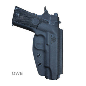 "Kydex OWB Holster Fits: Colt Commander 1911 .45 / 9mm / 4.25"" / 4.5"" / PT1911 Gun Holster Outside Waistband Carry Pistol Case 1.5-2 Inch Belt Clip With Lock - Adj. Width Height Cant - Entrance Widen - Black - PoLe.Craft Holster & Knives"