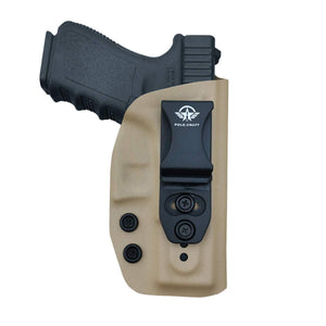 IWB Kydex Holster Fits: Glock 19 19X / Glock 23 / Glock 25 / Glock 32 (Gen 1-5) / Cz P10 Pistol Case Inside Waistband Carry Concealed Holster Glock 19 Guns - Adj. Height & Cant - Entrance Widen - Tan - PoLe.Craft Holster & Knives
