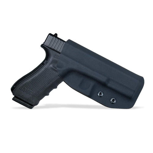 Kydex OWB Holster Fit: Glock 17 22 31 / Glock 19 19x / Glock 23 25 32 / Glock 26 27 30s (Gen 1-5) CZ P10 Pistol Case Waistband Outside Carry 1.5-2 Inch Belt Clip - Black