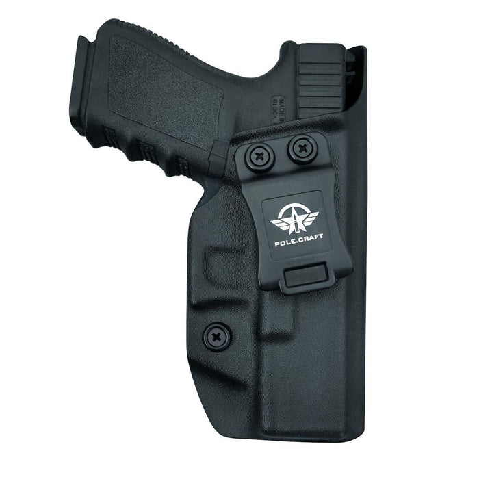 IWB Kydex Holster for Glock19 / 19X / Glock 23 / Glock 25 / Glock 32 / Glock 45 (Gen 3 4 5) - Glock 19 Holster IWB- Inside Waistband Carry Concealed - Cover Mag-Button - Widened Entrance - No Wear, No Jitter - Black