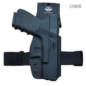 Kydex OWB Holster For Glock 19 19x Glock 23 25 32 Glock 17 22 31 Glock 26 27 33 (Gen 1-5) CZ P10 Gun Pistol Case Waistband Outside Carry 1.5-2 Inch Belt Clip - Adj. Width Height Cant, Entrance Widened - Black - PoLe.Craft Holster & Knives