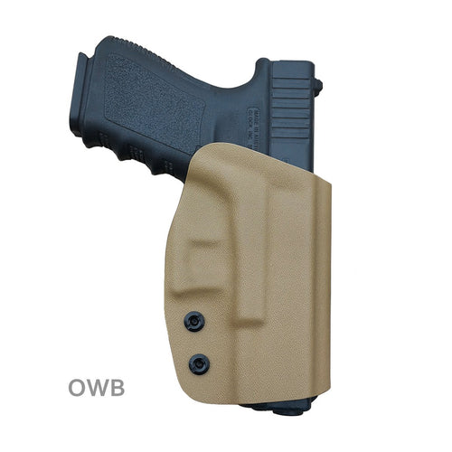 Kydex OWB Holster Fit Glock 19 19x / Glock 23 25 32 / Glock 17 22 31 Glock 26 27 30s (Gen 1-5) CZ P10 Pistol Case Waistband Outside Carry 1.5-2 Inch Belt Clip - Adj. Width Height Cant - Entrance Widen - Tan