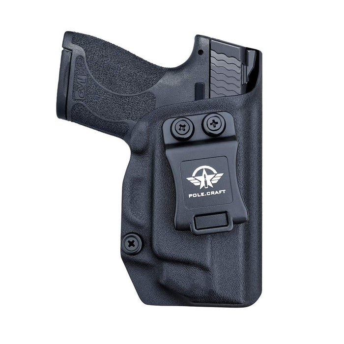 PoLe.Craft IWB Kydex Holster Custom Fit: Smith & Wesson M&P Shield 9/40 M2.0 S&W - with Integrated CT Laser - Inside Waistband Concealed Carry - Cover Mag-Button, Widened Entrance, No Wear, No Jitter - Black