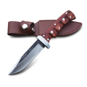 PoLe.Craft Hunter G1 - Forged Hunting Knife - Fixed Blade - Camping Knife - Survival Knife - with Leather Sheath Case - PoLe.Craft Holster & Knives