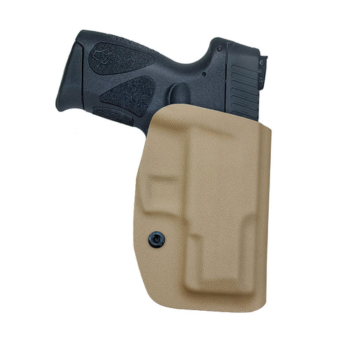 Taurus G2C Holsters, Kydex OWB Holster For Taurus G2C 9mm & Millennium PT111 G2 / PT140 Guns Pistol Case - Waistband Outside Carry, 1.5-2 Inch Belt Clip - Adj. Width Height Cant, Entrance Widen - Tan