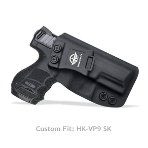 HK VP9SK Holster, Kydex Holster For Heckler & Koch (H&K) VP9SK IWB Holster Concealed Carry - Inside Waistband Carry Concealed Holster VP9 SK Case Cover Accessories - Black - PoLe.Craft Holster & Knives