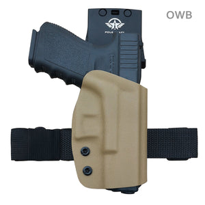 Kydex OWB Holster For Glock 19 19x Glock 23 25 32 Glock 17 22 31 Glock 26 27 33 (Gen 1-5) CZ P10 Gun Pistol Case Waistband Outside Carry 1.5-2 Inch Belt Clip - Adj. Width Height Cant, Entrance Widened - Tan / Orange - PoLe.Craft Holster & Knives