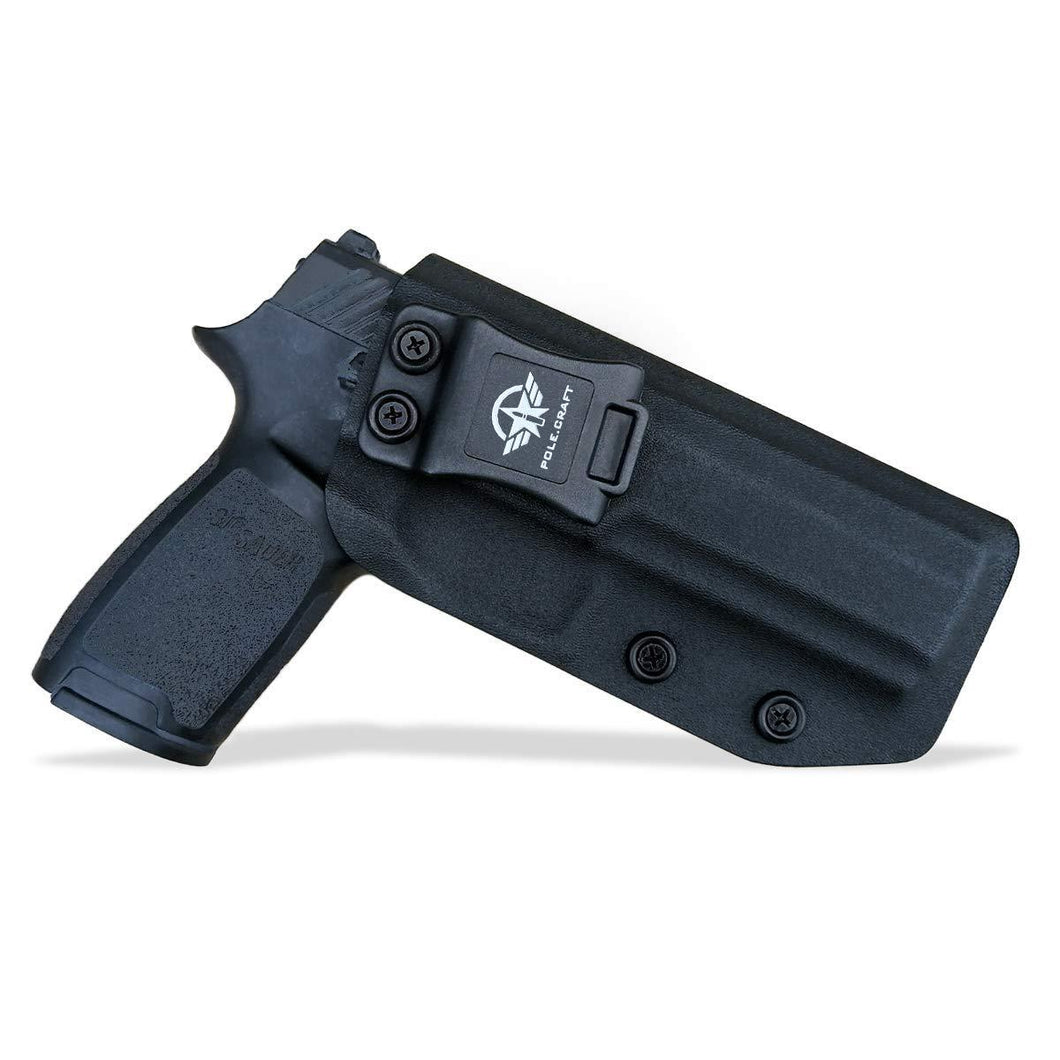Kydex IWB Holster Custom Fit Sig Sauer P320 Full Size / P320 Carry / P320 Compact Medium Pistol Case - Inside Waistband Carry Concealed Holster P320 Gun Accessories - Point Touch - No Wear - No Jitter - Black