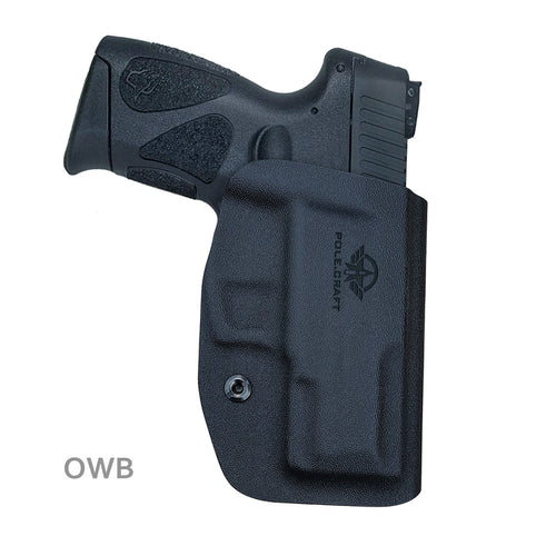 Taurus G2C Holsters, Kydex OWB Holster For Taurus G2C 9mm & Millennium PT111 G2 / PT140 Guns Pistol Case - Waistband Outside Carry, 1.5-2 Inch Belt Clip - Adj. Width Height Cant, Entrance Widen - Black