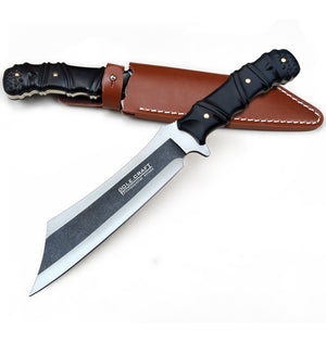 Pole.Craft Machete 01 -Fixed Blade - Chopper Knife - Camping Knife - Hunting Knife - with Leather Sheath