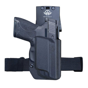 M&P Shield 9mm Holster OWB Kydex for Smith & Wesson M&P Shield 9mm / .40 M2.0 - with Integrated Laser Pistol Case - M&P Shield Holster OWB with Laser - Outside Waistband Carry 1.5-2 Inch Belt Clip with Leggings - Adj. Width Height Retention Cant, Widened