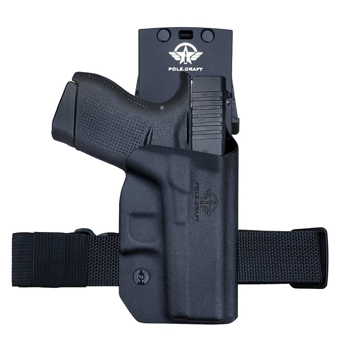 PoLe.Craft OWB Kydex Holster Custom Fit: Glock 43 / Glock 43X (Gen 3 4 5) Pistol - Outside Waistband Carry 1.5-2 Inch Belt Clip - Adj. Width/Height/Retention/Cant, Entrance Widened (Black, Right Hand Draw (OWB))