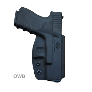 Kydex OWB Holster Fit Glock 19 19x / Glock 23 25 32 / Glock 17 22 31 Glock 26 27 30s (Gen 1-5) CZ P10 Pistol Case Waistband Outside Carry 1.5-2 Inch Belt Clip - Adj. Width Height Cant - Entrance Widen - Black - PoLe.Craft Holster & Knives