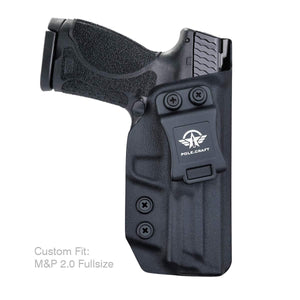 "IWB Kydex Holster Custom Fit: Smith & Wesson M&P 9mm M2.0 Full Size 4.25"" Pistol - Inside Waistband Concealed Carry - Cover Mag-Button - Widened Entrance - No Wear, No Jitter - Black - PoLe.Craft Holster & Knives"