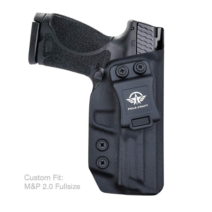 "IWB Kydex Holster Custom Fit: Smith & Wesson M&P 9mm M2.0 Full Size 4.25"" Pistol - Inside Waistband Concealed Carry - Cover Mag-Button - Widened Entrance - No Wear, No Jitter - Black"