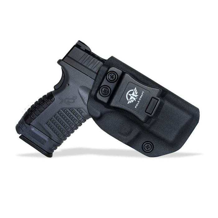 "IWB Tactical KYDEX Gun Holster Custom Fits: Springfield XD-S 3.3"" 9mm .40 S&W .45ACP Single Stack Pistol Case Inside Waistband Carry Concealed Holster Guns Pouch Bag - Black"