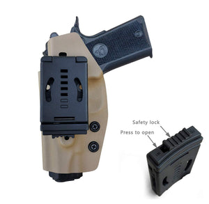"Kydex OWB Holster Fits: Colt Commander 1911 .45 / 9mm / 4.25"" / 4.5"" / PT1911 Gun Holster Outside Waistband Carry Pistol Case 1.5-2 Inch Belt Clip With Lock - Adj. Width Height Cant - Entrance Widen - Tan - PoLe.Craft Holster & Knives"
