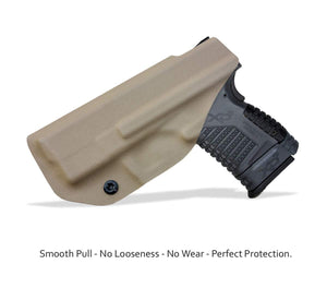 "IWB Tactical KYDEX Gun Holster Custom Fits: Springfield XD-S 3.3"" 9mm .40 S&W .45ACP Single Stack Pistol Case Inside Waistband Carry Concealed Holster Guns Pouch Bag - Tan"
