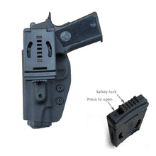 "Load image into Gallery viewer, Kydex OWB Holster Fits: Colt Commander 1911 .45 / 9mm / 4.25"" / 4.5"" / PT1911 Gun Holster Outside Waistband Carry Pistol Case 1.5-2 Inch Belt Clip With Lock - Adj. Width Height Cant - Entrance Widen - Black"
