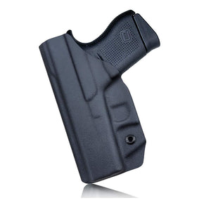 PoLe.Craft IWB Kydex Holster Custom Fit: Glock43 / Glock 43X (Gen 1-5) Pistol - Inside Waistband Concealed Carry - Cover Mag-Button, Widened Entrance, No Wear, No Jitter - Black - PoLe.Craft Holster & Knives