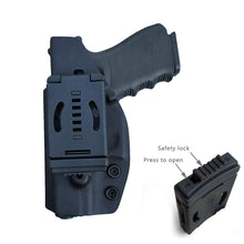 Load image into Gallery viewer, Kydex OWB Holster Fit Glock 19 19x / Glock 23 25 32 / Glock 17 22 31 Glock 26 27 30s (Gen 1-5) CZ P10 Pistol Case Waistband Outside Carry 1.5-2 Inch Belt Clip - Adj. Width Height Cant - Entrance Widen - Black