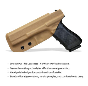 KYDEX IWB Holster Glock 17 Glock 22 Glock 31 Gun Holster IWB Inside Waistband Carry Concealed Holster Glock 17 Pistol Case Accessories - Tan