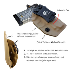 IWB Tactical KYDEX Holster Custom Fits: Sig Sauer P238 Gun Case Inside Waistband Carry Concealed Holster Pistol Pouch Bag Accessories - Tan