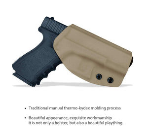 Kydex OWB Holster Fit Glock 19 19x / Glock 23 25 32 / Glock 17 22 31 Glock 26 27 30s (Gen 1-5) CZ P10 Pistol Case Waistband Outside Carry 1.5-2 Inch Belt Clip - Adj. Width Height Cant - Entrance Widen - Tan - PoLe.Craft Holster & Knives