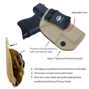 Kydex IWB Holster Custom Fits: Glock 26 / Glock 27 / Glock 33 Pistol Case Inside Waistband Carry Concealed Holster Guns Accessories - Point Touching - No Wear - No Jitter - Tan