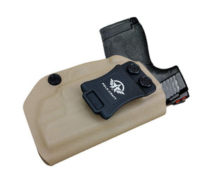 Kydex IWB Holster Fit: Smith & Wesson M&P 45 Shield M2.0 9mm .40 S&W / Crimson Trace Laser Concealed Carry - Inside Waistband Carry Concealed Holster M&P Shield 9mm - Tan - PoLe.Craft Holster & Knives