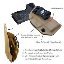"Load image into Gallery viewer, IWB Tactical KYDEX Gun Holster Custom Fits: Springfield XD-S 3.3"" 9mm .40 S&W .45ACP Single Stack Pistol Case Inside Waistband Carry Concealed Holster Guns Pouch Bag - Tan"