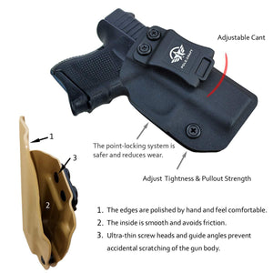Kydex IWB Holster Custom Fits: Glock 26 / Glock 27 / Glock 33 Pistol Case Inside Waistband Carry Concealed Holster Guns Accessories - Point Touching - No Wear - No Jitter - Black - PoLe.Craft Holster & Knives
