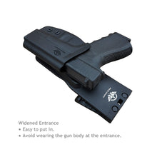 Load image into Gallery viewer, Kydex OWB Holster For Glock 19 19x Glock 23 25 32 Glock 17 22 31 Glock 26 27 33 (Gen 1-5) CZ P10 Gun Pistol Case Waistband Outside Carry 1.5-2 Inch Belt Clip - Adj. Width Height Cant, Entrance Widened - Black