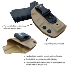 Load image into Gallery viewer, IWB Kydex Holster Fits: Glock 19 19X / Glock 23 / Glock 25 / Glock 32 (Gen 1-5) / Cz P10 Pistol Case Inside Waistband Carry Concealed Holster Glock 19 Guns - Adj. Height & Cant - Entrance Widen - Tan