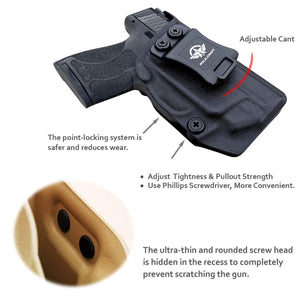 PoLe.Craft IWB Kydex Holster Custom Fit: Smith & Wesson M&P Shield 9/40 M2.0 S&W - with Integrated CT Laser - Inside Waistband Concealed Carry - Cover Mag-Button, Widened Entrance, No Wear, No Jitter - Black - PoLe.Craft Holster & Knives