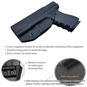 KYDEX IWB Holster Glock 19 19X 23 25 32 Cz P10 Gun Holsters Waistband Carry Concealed Holster Glock 19 Pistol Case Guns Accessories - Black - PoLe.Craft Holster & Knives