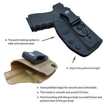 Load image into Gallery viewer, IWB Kydex Holster Fits: Glock 19 19X / Glock 23 / Glock 25 / Glock 32 (Gen 1-5) / Cz P10 Pistol Case Inside Waistband Carry Concealed Holster Glock 19 Guns - Adj. Height & Cant - Entrance Widen - Black